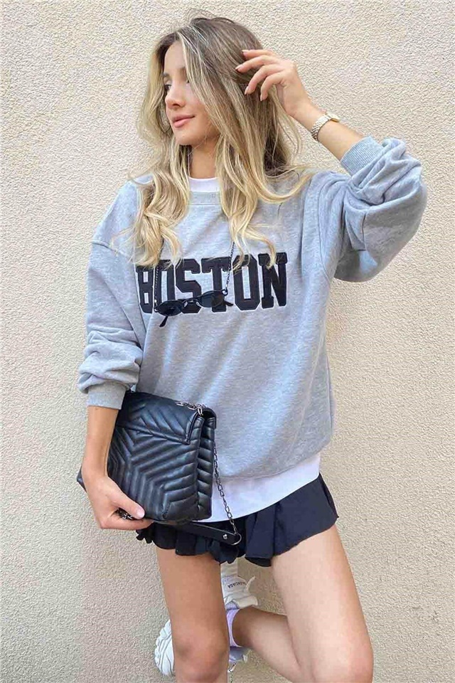 Boston Baskılı Sweatshirt